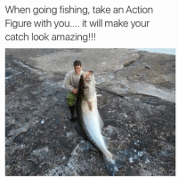 😂🐟 (@cabbagecatmemes ): When going fishing, take an Action  Figure with you  it will make your  catch look amazing!!! 😂🐟 (@cabbagecatmemes )