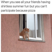 All because of the pepperoni and pineapple 😞 (@thefatjewish): When you see all your friends having  shirtless summer fun but you can't  participate because pizza All because of the pepperoni and pineapple 😞 (@thefatjewish)