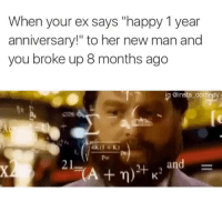 """Ex's, Funny, and Hoe: When your ex says happy 1 year  anniversary!"""" to her new man and  you broke up 8 months ago  a  @insta comedy  AK (I t K)  y pur  and  21 These hoes ain't loyal"""