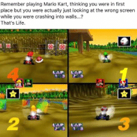 Mario Kart Memes: Remember playing Mario Kart, thinking you were in first  place but you were actually just looking at the wrong screen  while you were crashing into walls...?  That's Life  LAP  LAP LAP