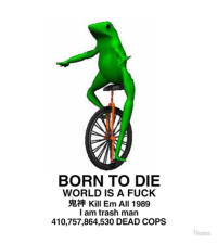 Born to Die: BORN TO DIE  WORLD IS A FUCK  Kill Em All 1989  I am trash man  410,757,864,530 DEAD COPS