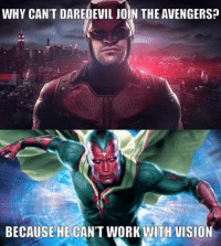 Film Nerd: WHY CAN'T DAREDEVIL JOIN THE AVENGERS?  BECAUSE HE CAN'T WORK WITH VISION Film Nerd