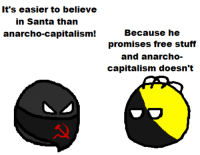 Svetoslav Svetlozarov: It's easier to believe  in Santa than  anarcho-capitalism!  Because he  promises free stuff  and anarcho-  capitalism doesn't Svetoslav Svetlozarov