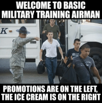 Training Meme: WELCOME TO BASIC  MILITARY TRAINING AIRMAN  NOLL  PROMOTIONS ARE ON THE LEFT  THE ICE CREAMIS ON THE RIGHT