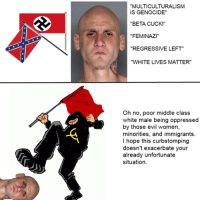 """""""MULTICULTURALISM  IS GENOCIDE""""  """"BETA CUCK!""""  FEMINAZ  """"REGRESSIVE LEFT""""  """"WHITE LIVES MATTER""""  oh no, poor middle class  white male being oppressed  by those evil women,  minorities, and immigrants  I hope this curbstomping  doesn't exacerbate your  already unfortunate  situation (sharing something from back in the gallery)"""