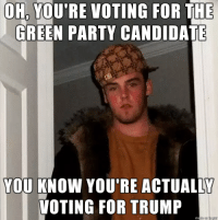 Scumbag Hillary Supporter: OH, YOU'RE VOTING FOR THE  GREEN PARTY CANDIDATE  YOU KNOW YOU'RE ACTUALLY  VOTING FOR TRUMP Scumbag Hillary Supporter