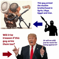 Muslim Brotherhood- Black VS White: will it be  treason if this  guy arms  them too?  This guy armed  the muslim  brotherhood in  Syria, Libya,  Egypt and Iran.  Or will we stilll  just be racist for  being against it? Muslim Brotherhood- Black VS White