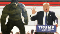 America, Smashing, and Texting: TRUMP  TEXT TRUMP to 88022  Dayton,  MARE AMERICA GINNAT AKAIN Hulk Smash!