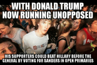Talk about sending a message to the establishment: WITH DONALD TRUMP  NOWRUNNINGUNOPPOSED  HIS SUPPORTERS COULD BEAT HILLARY BEFORE THE  GENERAL BY VOTING FOR SANDERSIN OPEN PRIMARIES Talk about sending a message to the establishment