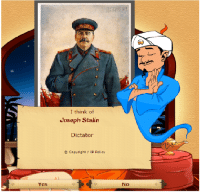 Akinator disapproves of Stalin.: I think of  Joseph Stalin  Dictator  Copyright IP policy  No Akinator disapproves of Stalin.
