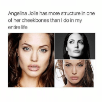 hey: Angelina Jolie has more structure in one  of her cheekbones than l do in my  entire life hey