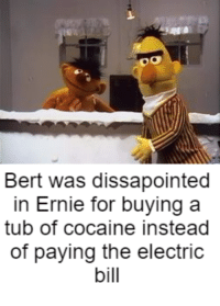 Ernie, I am dissapoint.: OO  Bert was dissapointed  in Ernie for buying a  tub of cocaine instead  of paying the electric  bill Ernie, I am dissapoint.