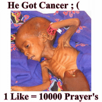 He Got Cancer  1 Like 10000 Prayer's Prayers are getting cheap these days.