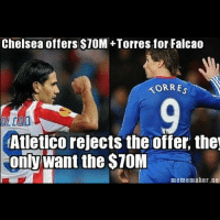 atleticomadrid trolling.: Chelsea offers $10M+Torres for Falcao  KORRES  (Atletico rejects the offer the  only want the $70M  meme maker nei atleticomadrid trolling.