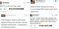 Driving, Espn, and Head: Skip Bayless  aRealSkipBayless  Manti Te'o: the next Ray Lewis.  RETWEETS FAVORITES  3,082  622  8:52 PM 8 Dec 2012  Follow   Skip Bayless  @Real Skip Bayless  Derek Fisher will prove to be a  much better NBA head coach than  Steve Kerr  6/10/14, 1:36 PM   Skip Bayless  @Real SkipBayless  The Houston Texans will forever  regret it if they do not take Johnny  Manziel with the No. 1 overall pick.  He will haunt them  5/8/14, 7:00 PM   Skip Bayless  Follow  @RealSkipBayless  You bet I'd take Tebow late in games over  ARodg. Tebow: 4 game-winning drives in 9  starts. ARodg unproven late. Not enough  opportunities yet  RETWEETS FAVORITES  287  25  4:13 PM 28 Nov 2011 SKIP BAYLESS IS LEAVING ESPN FOR FOX. HERE ARE SOME OF HIS GREATEST HITS