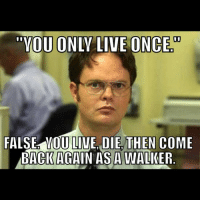 Dwight still knows best.: YOU ONLY LIVE ONCE  FALSE OU  LIVE DIE THEN COME  BACK AGAIN AS A WALKER Dwight still knows best.