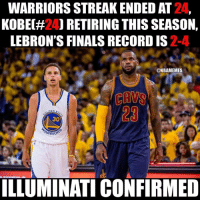 Illuminati confirmed.😂: WARRIORSSTREAKENDED AT  KOBEC#24) RETIRING THIS SEASON,  LEBRON'S FINALSRECORDIS2-  @NBAMEMES  30  ARRIO  ILLUMINATI CONFIRMED Illuminati confirmed.😂