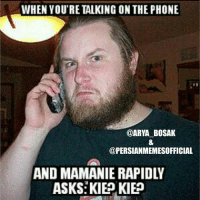 Thanks to @arya_bosak aka meme machine!! Follow 🇮🇷@persianmemesofficial🇮🇷 for the funniest Persian memes & videos!!: WHEN YOU'RE TALKING ON THE PHONE  @ARYA BOSAK  @PERSIANMEMESOFFICIAL  ASKS KIE KIEP Thanks to @arya_bosak aka meme machine!! Follow 🇮🇷@persianmemesofficial🇮🇷 for the funniest Persian memes & videos!!