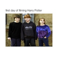 harry potter meme: first day of filming Harry Potter