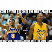 💯💯 nbamemes: KOBE BRYANT BECOMES THE FIRST PLAYER... TO PLAY 20 STRAIGHT SEASONS WITH THE SAME TEAM 💯💯 nbamemes
