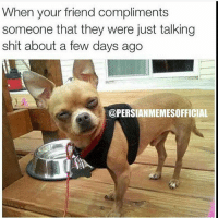Kirismas comes around and all of a sudden you're best friends-Follow 🇮🇷@PERSIANMEMESOFFICIAL🇮🇷 for the funniest Persian memes & videos!!: When your friend compliments  someone that they were just talking  shit about a few days ago  @PERSIANMEMESOFFICIAL Kirismas comes around and all of a sudden you're best friends-Follow 🇮🇷@PERSIANMEMESOFFICIAL🇮🇷 for the funniest Persian memes & videos!!