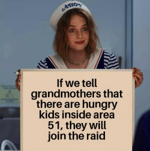 gather the boomers!: Aно  If we tell  grandmothers that  there are hungry  kids inside area  51, they will  join the raid gather the boomers!