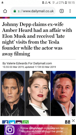"Instagram, Johnny Depp, and Wife: A . "" .11 27% 18:15  s://www.dailymail.co.uk  Johnny Depp claims ex-wife  Amber Heard had an affair with  Elon Musk and received 'late  night' visits from the Tesla  founder while the actor was  away filming  By Valerie Edwards For Dailymail.com  16:55 03 Mar 2019, updated 17:59 03 Mar 2019  Follow@DallyMall on Instägram for  top stories from around the globe We must defend Elon at once, he would never do such a thing!"