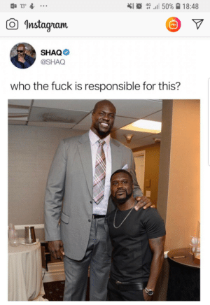"""Instagram, Lol, and Shaq: a 13.  S  41 0 """" .1150%  4G  18:48  O Instagram  白  SHAQ  @SHAQ  who the fuck is responsible for this? Lol"""