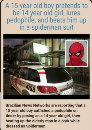 Brazil is a crazy place: A 15 year old boy pretends to  be 14 year old girl, lures  pedophile, and beats him up  in a spiderman suit  Brazilian News Networks are reporting that a  15 year old boy catfished a pedophile on  tinder by posing as a 14 year old girl, then  beating up the elderly man in a park while  dressed as Spiderman. Brazil is a crazy place