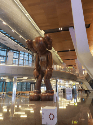A 2 floor tall wooden sculpture at the Doha airport: A 2 floor tall wooden sculpture at the Doha airport