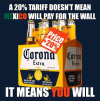 Memes, Tinyurl, and 🤖: A 20% TARIFF DOESNTMEAN  CO  WILL PAY FORTHE WALL  BEER  or  Extra.  Extra  ALIBERTARIANFUTURE COM  BEER FROM  IMPORTED BEER  FROM MEXICO  DE MEXICO  IT MEANS  YOU  WILL Story here:  http://tinyurl.com/zcceq4y