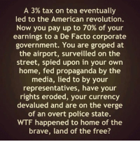 Memes, Police, and Streets: A 3% tax on tea eventually  led to the American revolution.  Now you pay up to 70% of your  earnings to a De Facto corporate  government. You are groped at  the airport, surveilled on the  street, spied upon in your own  home, fed propaganda by the  media, lied to by your  representatives, have your  rights eroded, your currency  devalued and are on the verge  of an overt police state.  WTF happened to home of the  brave, land of the free?