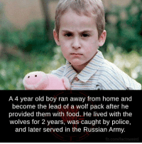 Wolf boy recruited by Mother Russia: A 4 year old boy ran away from home and  become the lead of a wolf pack after he  provided them with food. He lived with the  wolves for 2 years, was caught by police,  and later served in the Russian Army.  fb.com/factsweird Wolf boy recruited by Mother Russia
