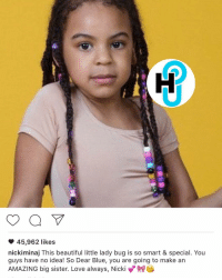 Memes, 🤖, and Bug: a  45,962 likes  nickiminaj This beautiful little lady bug is so smart & special. You  guys have no idea! So Dear Blue, you are going to make an  AMAZING big sister. Love always, Nick HotShot NickiMinaj sends love to BluIvy ❤️