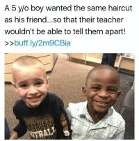 """@Regrann from @tattle.tailzz - Jax Rosebush told his mother last Friday morning that he wanted his hair cropped extremely close when he got it cut over the weekend so he could look exactly like his friend Reddy. Jax said he couldn't wait for his his teacher to see him Monday because she wouldn't be able to tell him and Reddy apart. Jax's mother Lydia Rosebush was so amused by her conversation with Jax, she posted about it on Facebook later Friday morning. Her amusement goes a hair deeper than than the obvious. You see, Jax is a little white boy. And the reason that's important to this story is because Reddy is black. """"He thought it would be so hilarious to confuse his teacher with the same haircut,"""" Lydia wrote. """"If this isn't proof that hate and prejudice is something that is taught I don't know what is. The only difference Jax sees in the two of them is their hair."""" Not their skin color. Reddy and his older brother Enock were born in Africa. They were 2 and 4 years old when they were adopted by Kevin Weldon, pastor of Carlisle Avenue Baptist Church in Louisville, and his wife Debbie. The Weldons are white. """"My sons do not look like me... but we are family all the same,"""" Kevin Weldon said. """"We share the same last name, love each other with all we have, and are a forever family. One day when I am gone, they will inherit all that I have and carry on our family name."""" (Swipe to see more pictures) - regrann: A 5 y/o boy wanted the same haircut  as his friend...so that their teacher  wouldn't be able to tell them apart!  buff.ly/2m9CBia @Regrann from @tattle.tailzz - Jax Rosebush told his mother last Friday morning that he wanted his hair cropped extremely close when he got it cut over the weekend so he could look exactly like his friend Reddy. Jax said he couldn't wait for his his teacher to see him Monday because she wouldn't be able to tell him and Reddy apart. Jax's mother Lydia Rosebush was so amused by her conversation with Jax, she posted about it on Facebook lat"""