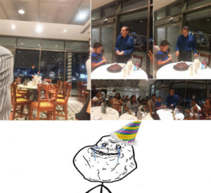 Birthday, Family, and Yo: A 61 yo man (blue shirt) was stood up by his family during his birthday he asked strangers at the restaurant to celebrate him