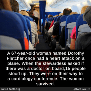 Doctor, Facts, and Memes: A 67-year-old woman named Dorothy  Fletcher once had a heart attack on a  plane. When the stewardess asked if  there was a doctor on board,15 people  stood up. They were on their way to  a cardiology conference. The woman  survived  weird-facts.org  @factsweird