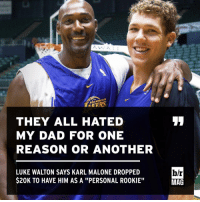 """Luke Walton, Sports, and Coach: A  ANGELES  THEY ALL HATED  MY DAD FOR ONE  REASON OR ANOTHER  LUKE WALTON SAYS KARL MALONE DROPPED  $20K TO HAVE HIM AS A ''PERSONAL RO0KIE""""  b/r  MAG This and more crazy stories from Luke Walton's road to coaching BRmag (link in bio)"""