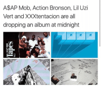 Memes, Heat, and Bronson: A$AP Mob, Action Bronson, Lil Uzi  Vert and XXXtentacion are all  dropping an album at midnight  킹' Serious album heat dropping midnight 🔥🔥🔥 xxxtentacion liluzivert asapmob