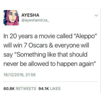 """Memes, Oscars, and OscarsSoWhite: A AYESHA  @ayeshamirza  In 20 years a movie called """"Aleppo""""  will win 7 Oscars & everyone will  say """"Something like that should  never be allowed to happen again""""  18/12/2016, 21:56  60.8K  RETWEETS  94.1K  LIKES Starring an all-white-primarily white cast again notagain oscarssowhite SaveAleppo Aleppo Syria"""