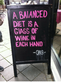 <p>Balanced Diet.</p>: A BAIANCED  DiET iS A  GIASS OF  WİNE İN  EACH HAND  -ONG <p>Balanced Diet.</p>