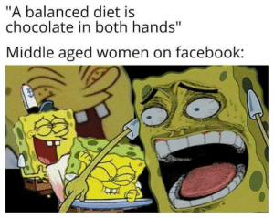 "middle aged: ""A balanced diet is  chocolate in both hands""  Middle aged women on facebook:"