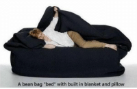 "I need THIS in my life.: A bean bag ""bed"" with built in blanket and pillow I need THIS in my life."
