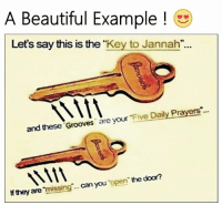 "key: A Beautiful Example  Let's say this is the  ""Key to Jannah""  and these Grooves  are your  Five Daily Prayers  door?  they are  missing can you  open the"