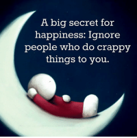 Memes, 🤖, and Secret: A big secret for  happiness: Ignore  people who do crappy  things to you.