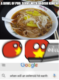A Bowl Of Pho Servewithradish Kimchi Google When Will An Asteroid Hit Earth What Kind Of Blasphemy Is This Comrade Unholyscream Google Meme On Me Me