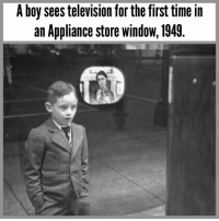 Life, Memes, and Television: A boy sees television for the first time in  an Appliance store windoW, 1949. The wonder of television drops jaw of Dickie Osborne, who watches a program on a store window set. At the time, there were only 61 TV stations in the entire US. ⁣ ⁣ From May, 1949 issue of Life Magazine.