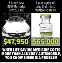Life, Memes, and Mercedes: A brand nevw  2017 Mercedes  Benz SLC300  1year supply of  drug that treats  multiple sclerosis  Ocrevus  locrelizumat)  njection  300 mc/10 m  o mg/mt  For Intravenous Infusion  Must Be Diluted.  Singie-Dose Vial. Discard Un  $47,950 $65,000  Phar  pan  ach  WHEN LIFE SAVING MEDICINE COSTS  MORE THAN A LUXURY AUTOMOBILE.  YOU KNOW THERE IS A PROBLEM This is what happens when Big Pharma spends HUNDREDS of MILLIONS of dollars every year to lobby Congress.