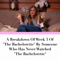 "Hilariously accurate. Link in bio.: A Breakdown Of Week 3 Of  ""The Bachelorette' By Someone  Who Has Never Watched  ""The Bachelorette"" Hilariously accurate. Link in bio."