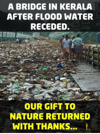 Memes, Nature, and Water: A BRIDGE IN KERALA  AFTER FLOOD WATER  RECEDED.  Cht  OUR GIFT TO  NATURE RETURNED  WITH THANKS...